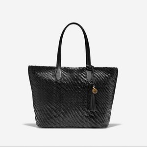 NWT Cole Haan Genevieve Woven Leather Tote Black